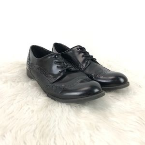 Marc Fisher Black Leather Sailor Wing-tip Shoes
